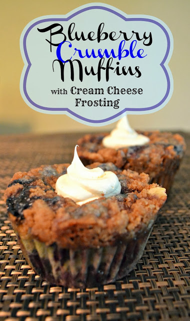 Blueberry Crumble Muffins with Cream Cheese frosting
