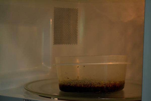 Burning in microwave