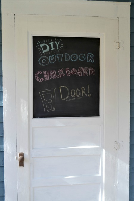 DIY outdoor chalkboard door house door with glass painted with chalkboard paint