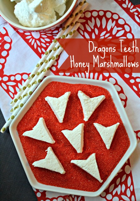 A simple recipe for homemade honey marshmallows that taste perfectly light and sweet. A great dessert idea for a party or gift, these are great in a cup of coffee. You can cut them into any shape you'd like, we chose Dragon's teeth for a Dragon party.
