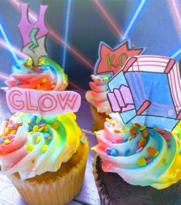 GLOW on Netflix (free printable cupcake toppers)