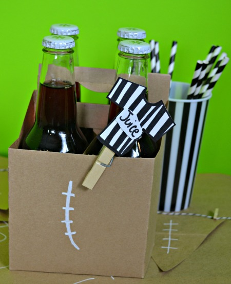 Serve carbonated juice with paper straws at a football party