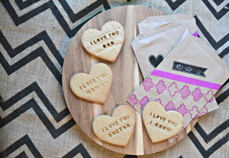 Shortbread message cookies for valentine's day