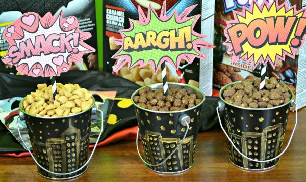 Super hero cereal centerpieces