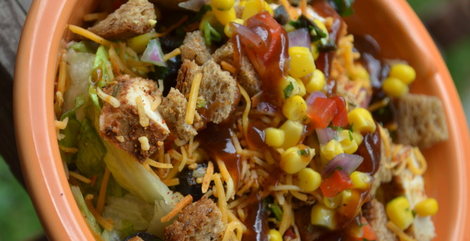 BBQ Tex-Mex Salad with Chili Lime Chicken and Fresh Corn Salsa