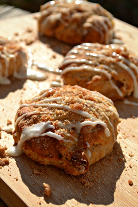 apple pie biscuits with icing and brown sugar crumble recipe