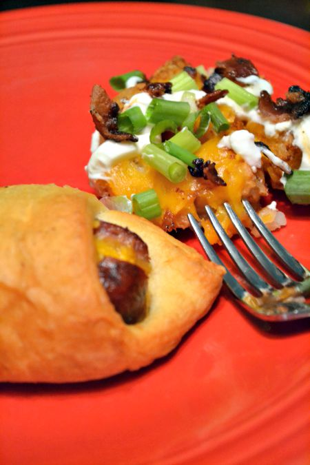 Cheese stuffed brats in a blanket. Use crescent rolls to make this quick dinner or appetizer!