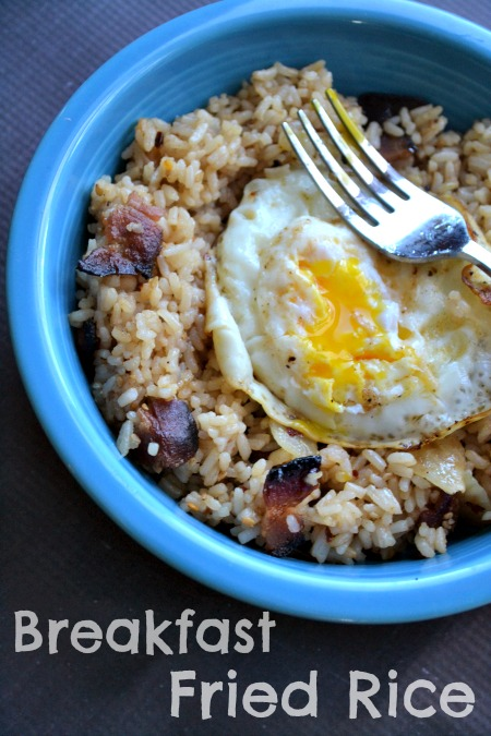 Breakfast fried rice, served with an egg on top just the way you like it. Perfect for using up that leftover rice and delicious enough to make more rice!