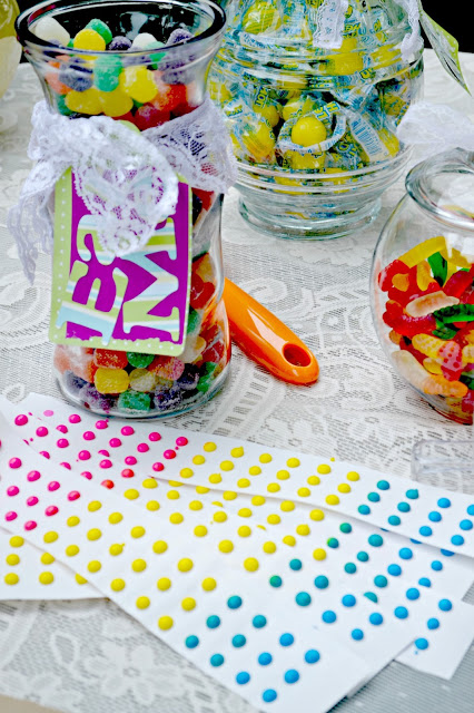 DIY candy buffet candy buttons