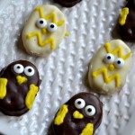 chocolate covered peanut butter chicks close up both