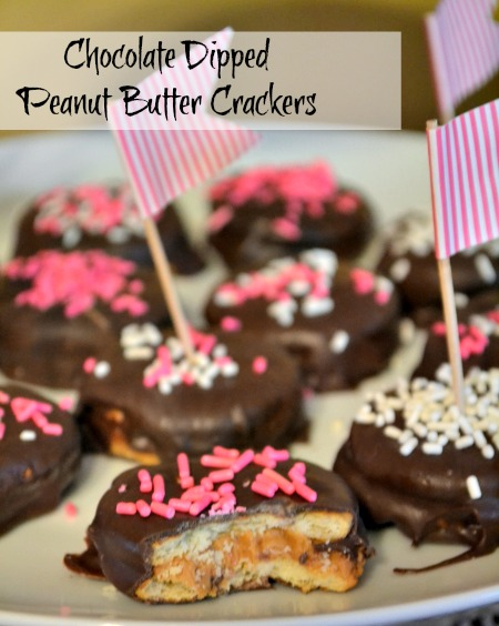 These simple chocolate dipped peanut butter crackers are an easy treat to make for any party! The easiest recipe you'll ever make and they taste like copycat Tagalongs Girls Scouts Cookies.