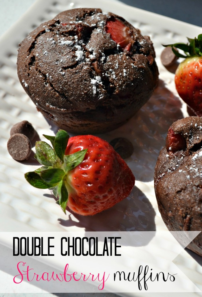 Double chocolate strawberry muffins recipe. Using fresh berries.