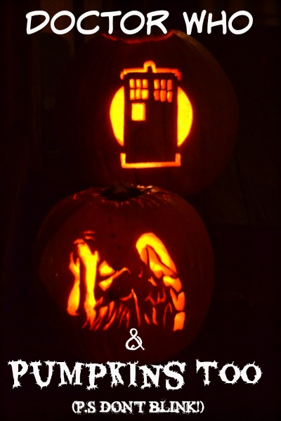 doctor who and pumpkins too weeping angel pumpkin and tardis pumpkin lit up at night p.s don't blink