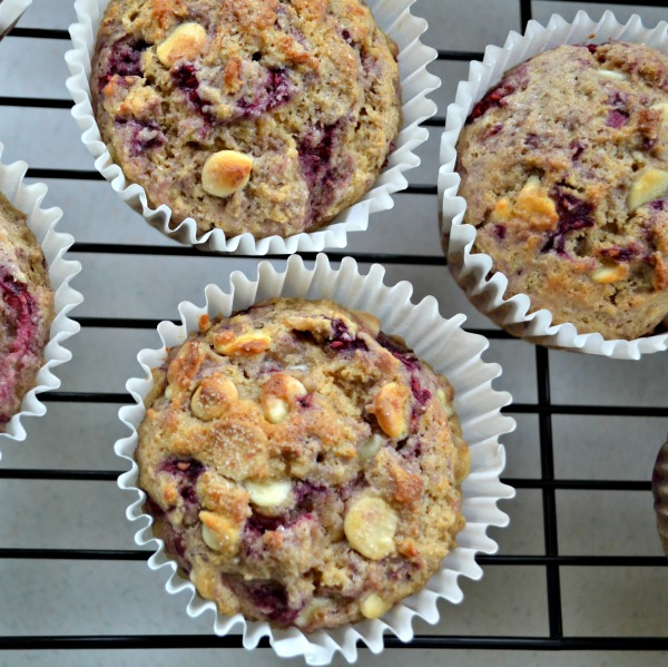 easy from scratch White Chocolate raspberry muffins