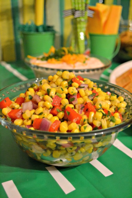 field goal football party corn salsa