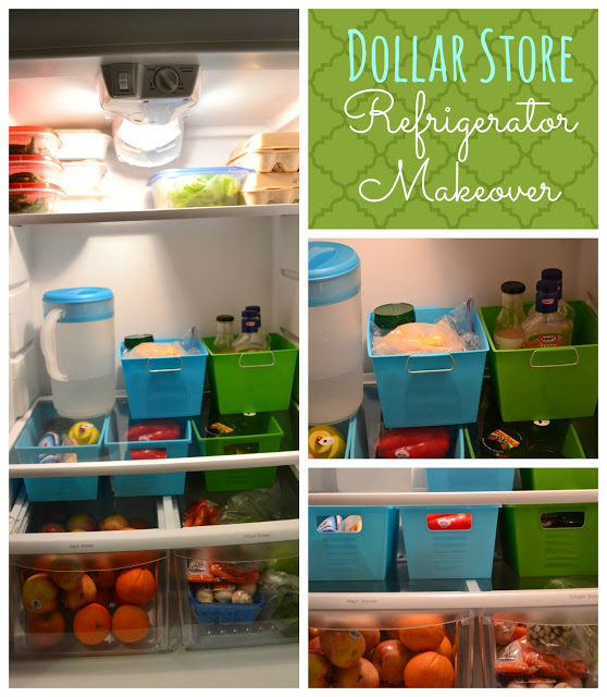 Organizing With Dollar Store Items: Dollar Store Refrigerator Makeover