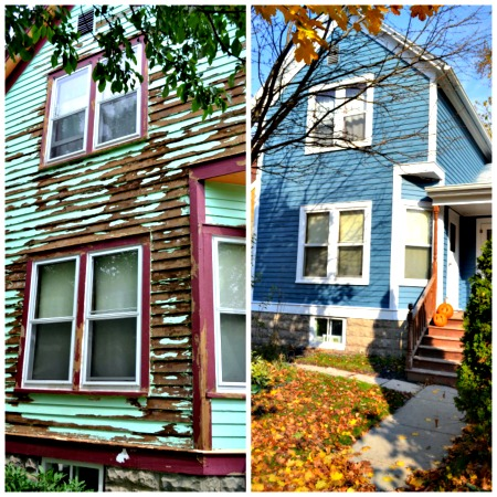 house painting project before and after, house with old green paint and bare wood, house with new blue paint with white trim
