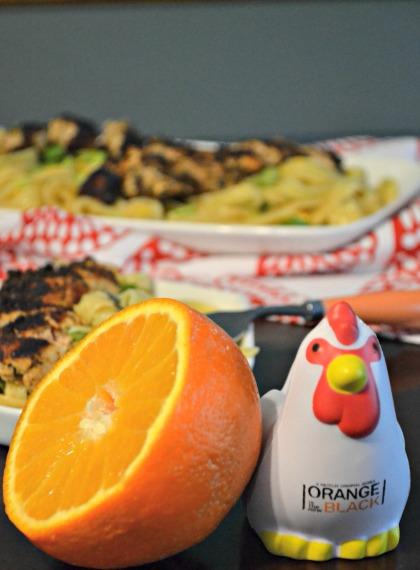 orange is the new blackened chicken with linguine in orange sauce