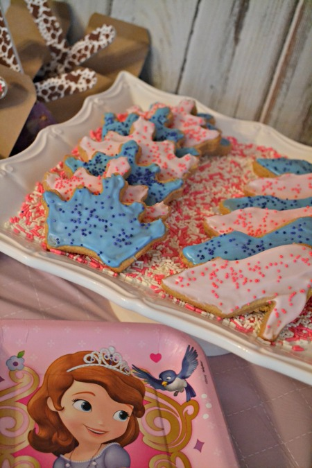Simple princess party ideas, inspired by Sophia the First. Princess cookies served on a pretty cake plate.