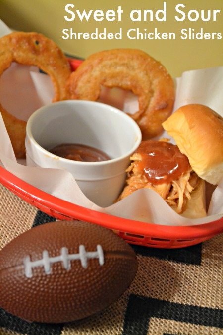 Sweet and Sour shredded chicken sliders, perfect for game day.